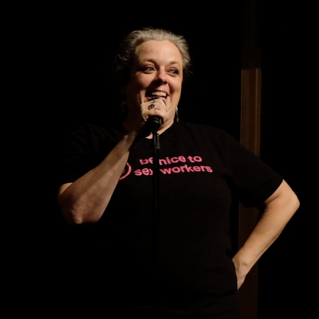 Image of the author at a live storytelling event